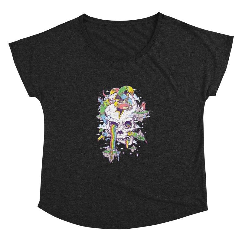 Flying Rainbow Skull Island  Women's Dolman by Jonah Makes Art