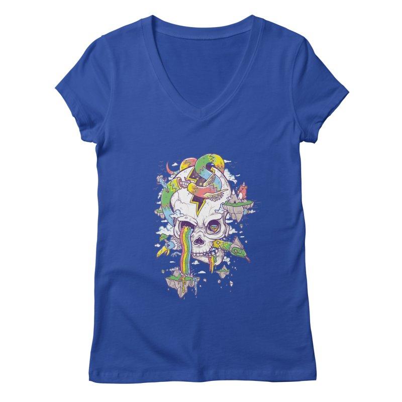 Flying Rainbow Skull Island  Women's V-Neck by Jonah Makes Art