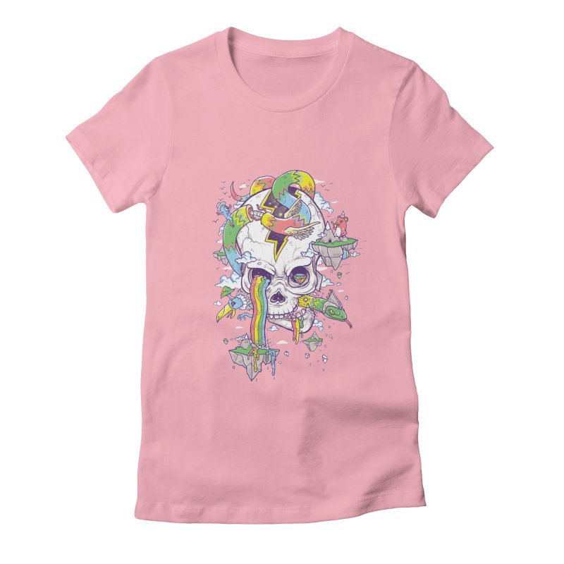 Flying Rainbow Skull Island  Women's Fitted T-Shirt by Jonah Makes Art