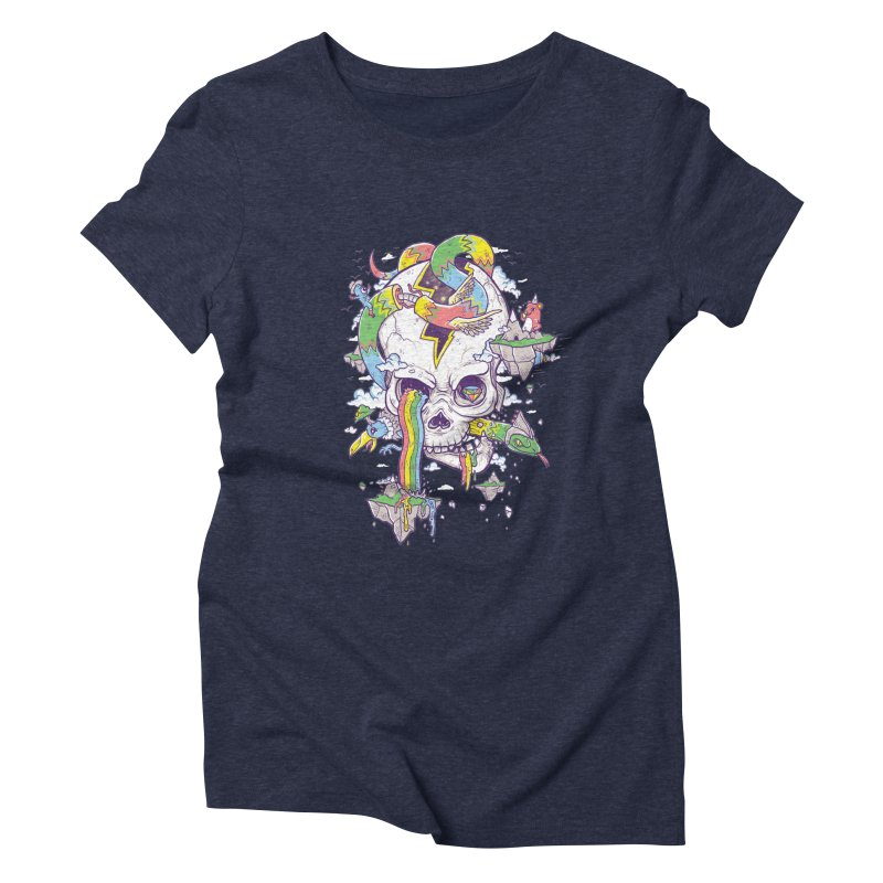 Flying Rainbow Skull Island  Women's Triblend T-shirt by Jonah Makes Art