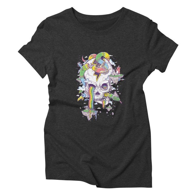 Flying Rainbow Skull Island  Women's Triblend T-Shirt by Jonah Makes Art