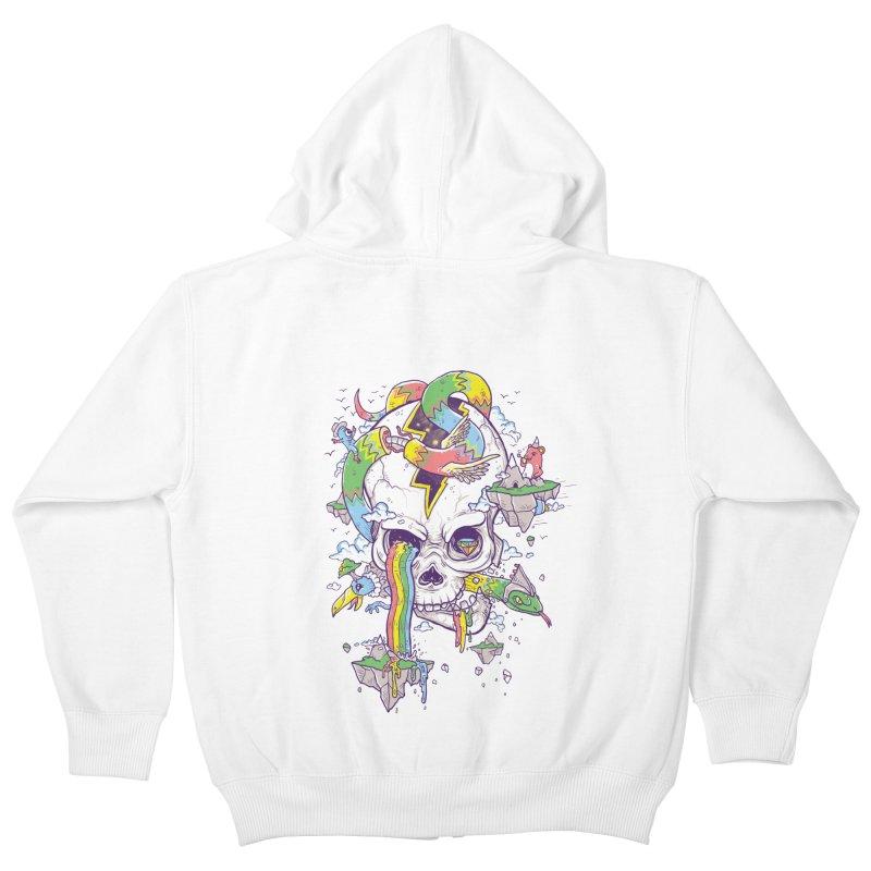 Flying Rainbow Skull Island  Kids Zip-Up Hoody by Jonah Makes Art