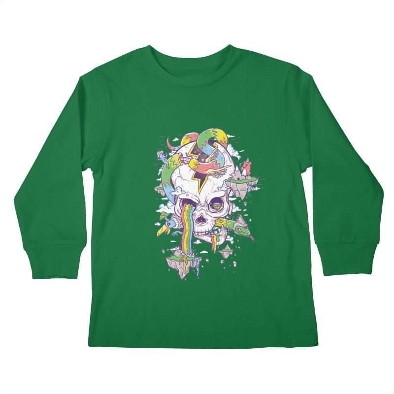 Flying Rainbow Skull Island  Kids Longsleeve T-Shirt by Jonah Makes Art