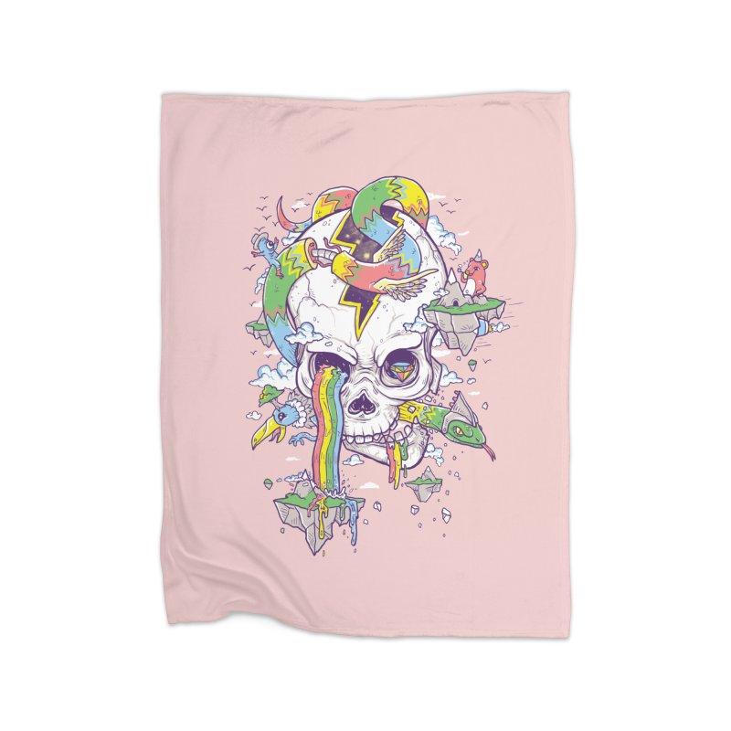 Flying Rainbow Skull Island  Home Blanket by Jonah Makes Art