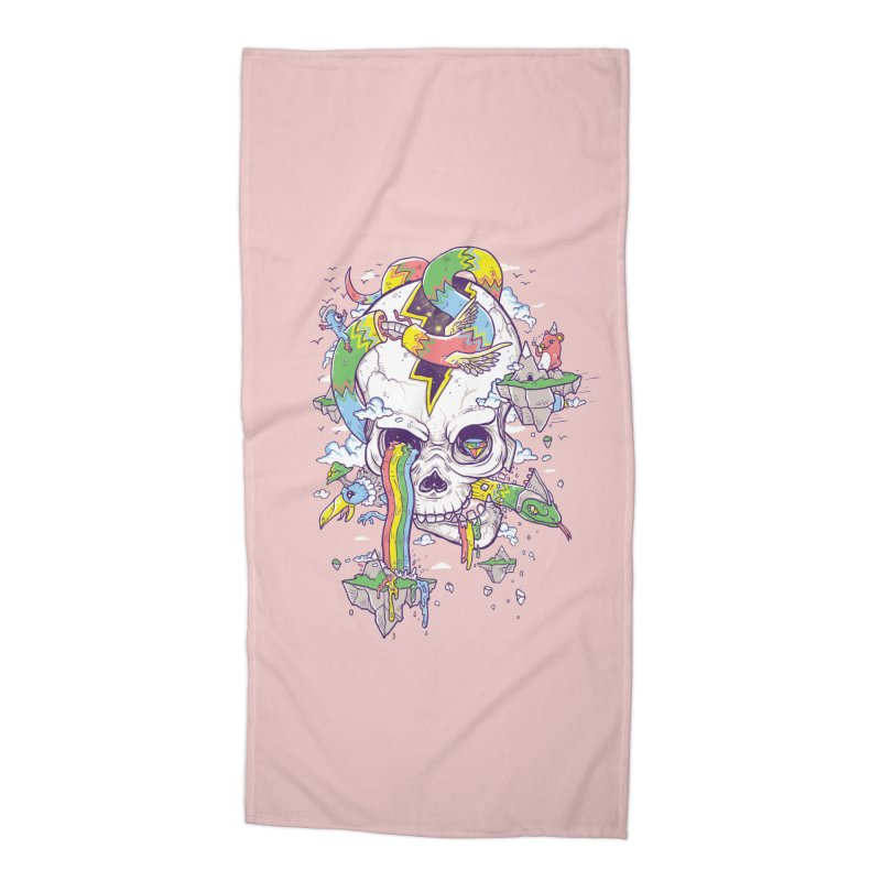 Flying Rainbow Skull Island  Accessories Beach Towel by Jonah Makes Art