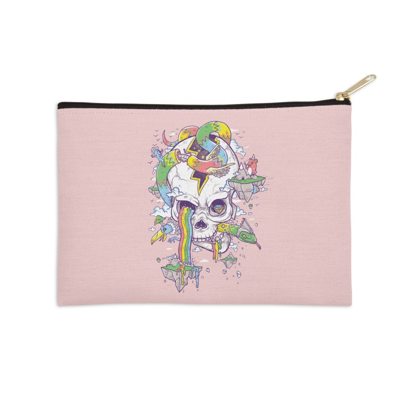 Flying Rainbow Skull Island  Accessories Zip Pouch by Jonah Makes Art