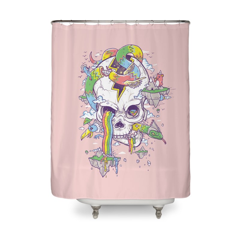 Flying Rainbow Skull Island  Home Shower Curtain by Jonah Makes Art