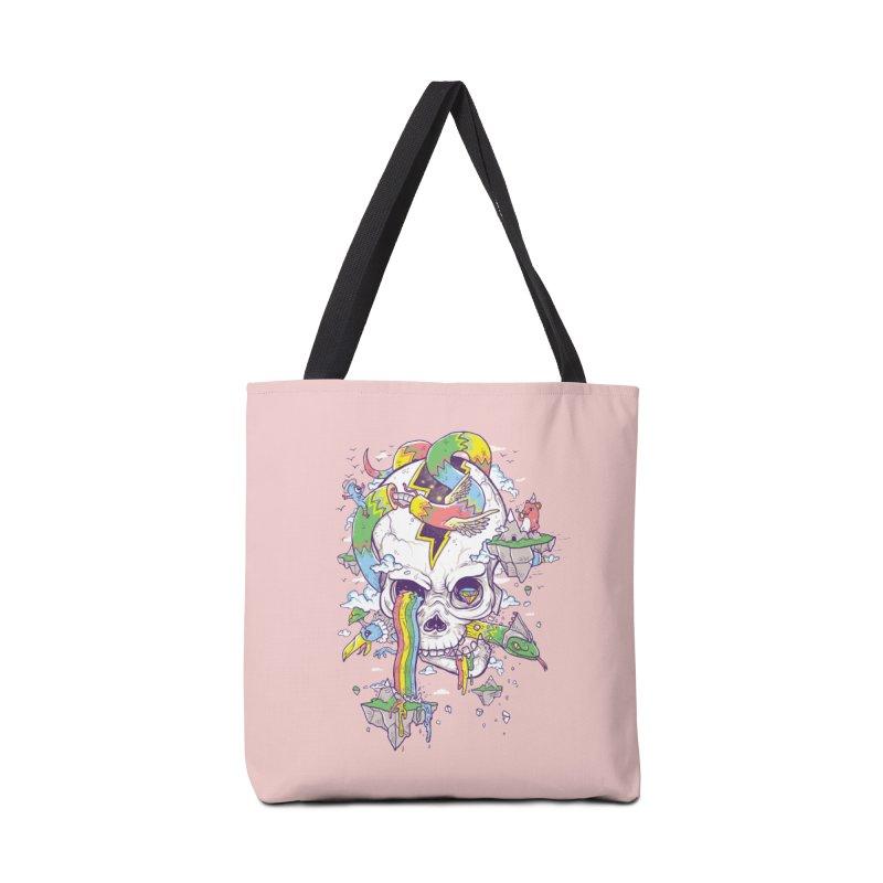 Flying Rainbow Skull Island  Accessories Bag by Jonah Makes Art