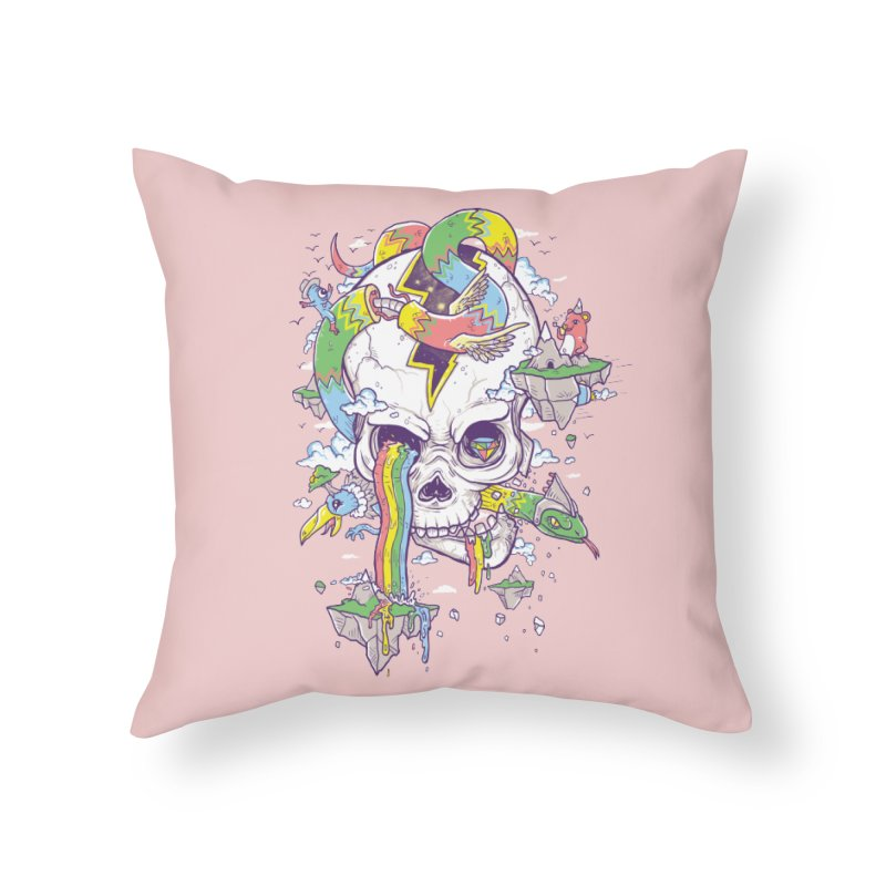 Flying Rainbow Skull Island  Home Throw Pillow by Jonah Makes Art