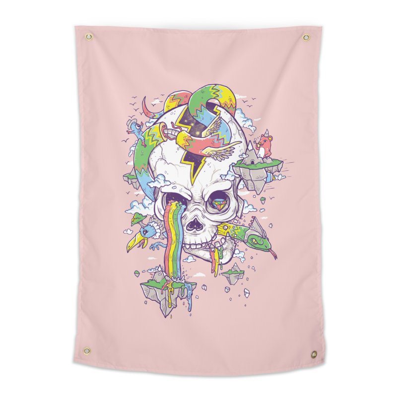 Flying Rainbow Skull Island  Home Tapestry by Jonah Makes Art