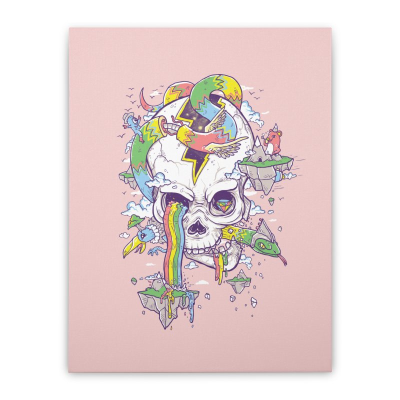 Flying Rainbow Skull Island  Home Stretched Canvas by Jonah Makes Art