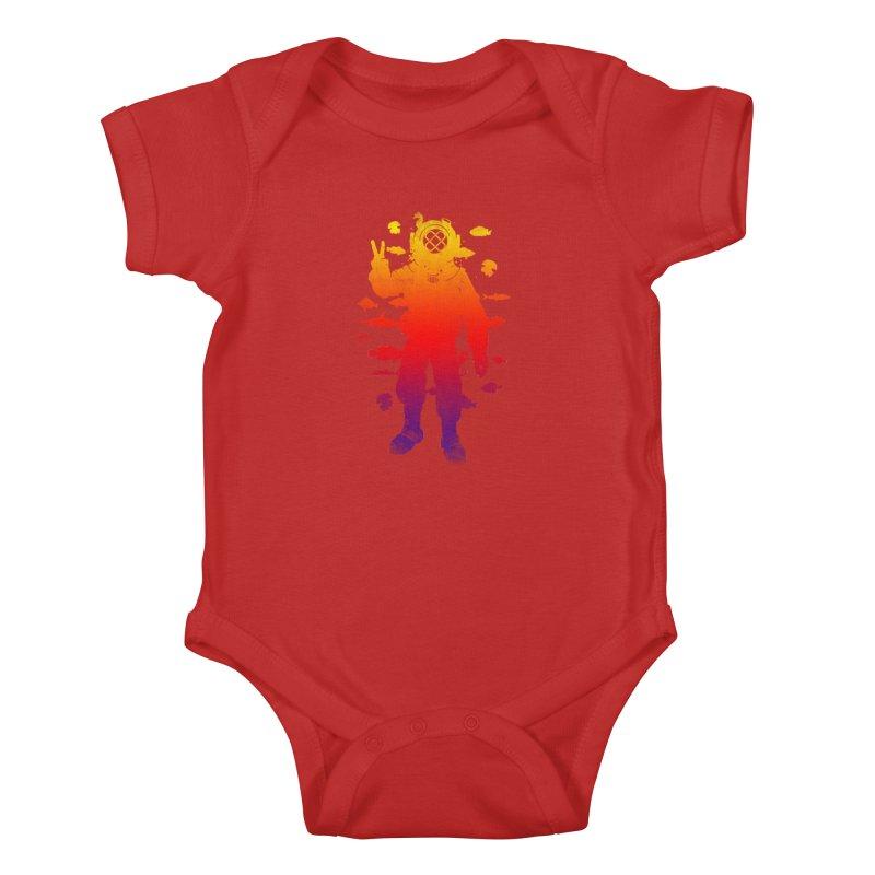 Peace Diver Kids Baby Bodysuit by Jonah Makes Art