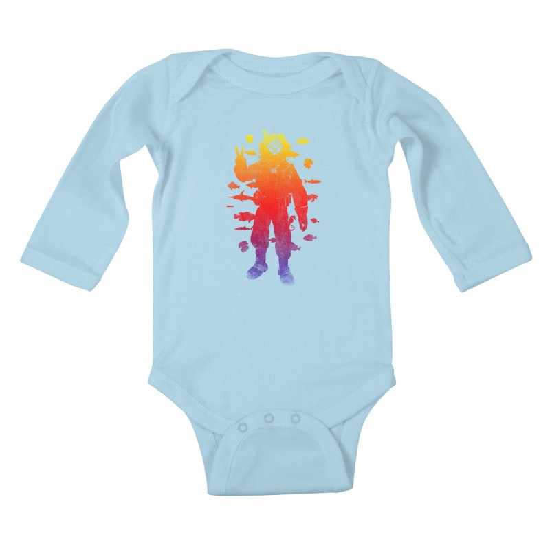 Peace Diver Kids Baby Longsleeve Bodysuit by Jonah Makes Art
