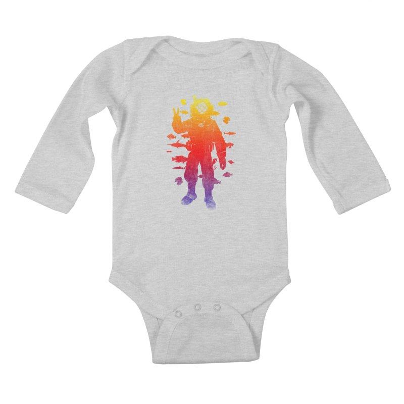Peace Diver Kids Baby Longsleeve Bodysuit by Jonah Makes Art