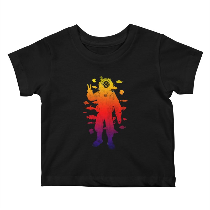 Peace Diver Kids Baby T-Shirt by Jonah Makes Art