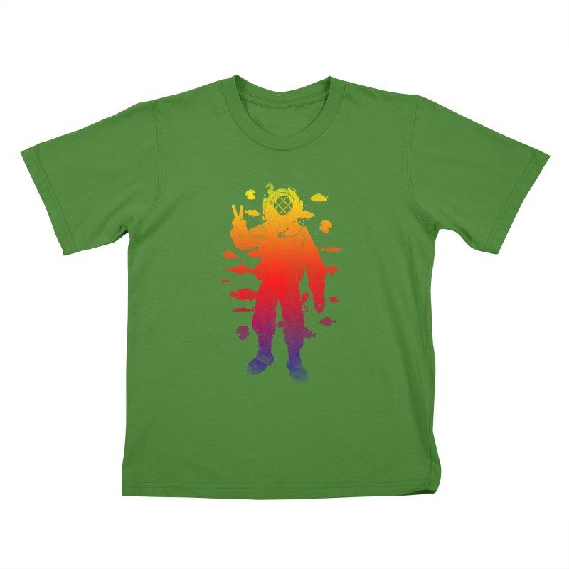 Peace Diver Kids T-Shirt by Jonah Makes Art