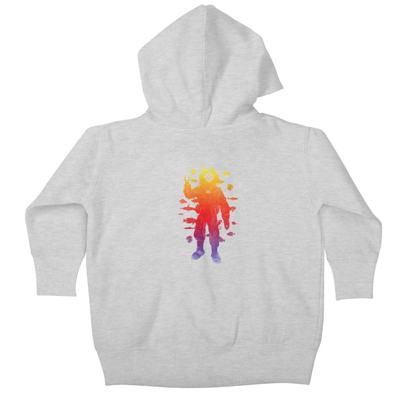 Peace Diver Kids Baby Zip-Up Hoody by Jonah Makes Art