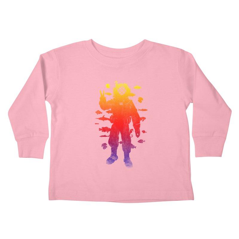 Peace Diver Kids Toddler Longsleeve T-Shirt by Jonah Makes Art