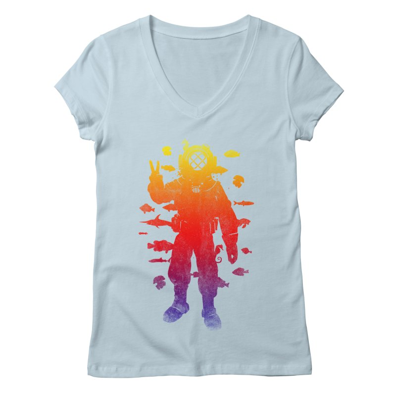 Peace Diver Women's V-Neck by Jonah Makes Art