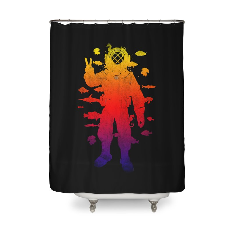 Peace Diver Home Shower Curtain by Jonah Makes Art