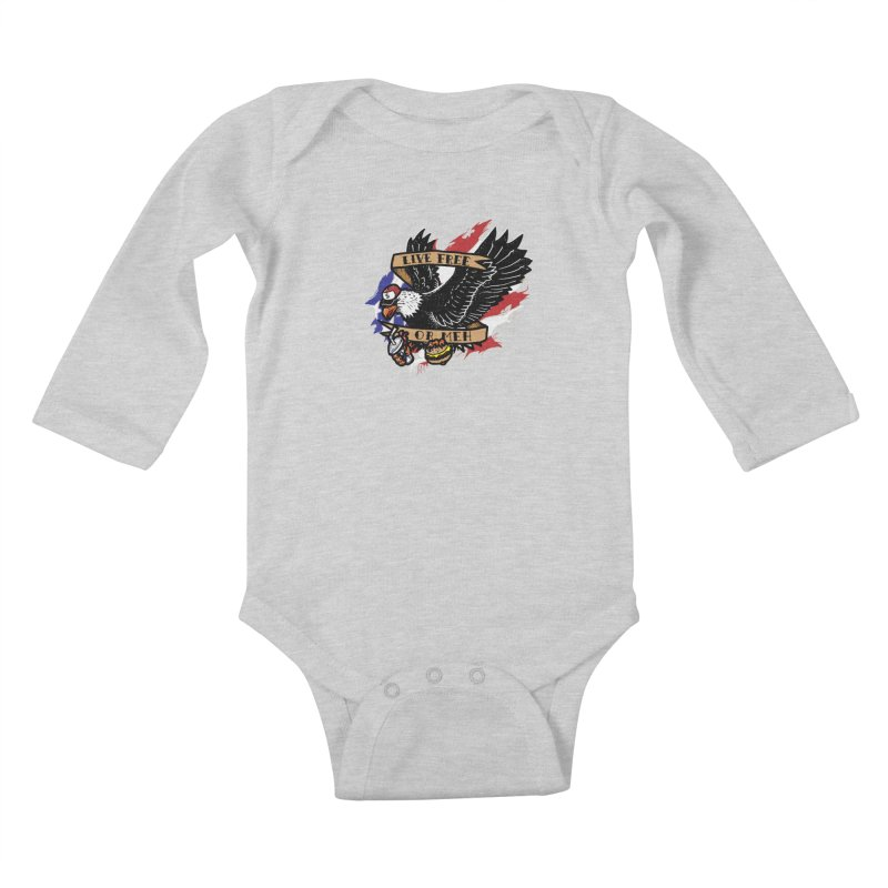 America the Meh Kids Baby Longsleeve Bodysuit by Jonah Makes Art
