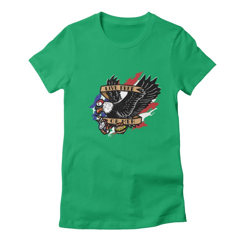America the Meh Women's Fitted T-Shirt by Jonah Makes Art