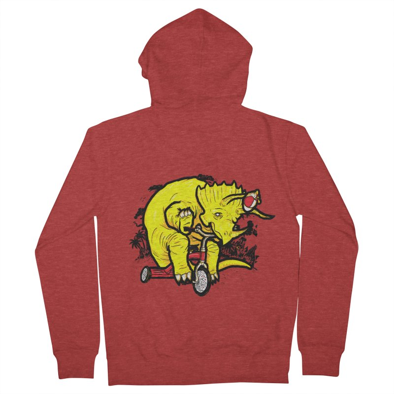 Triceratops ona Tricycle  Women's Zip-Up Hoody by Jonah Makes Art