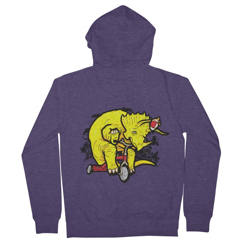 Triceratops ona Tricycle  Men's Zip-Up Hoody by Jonah Makes Art