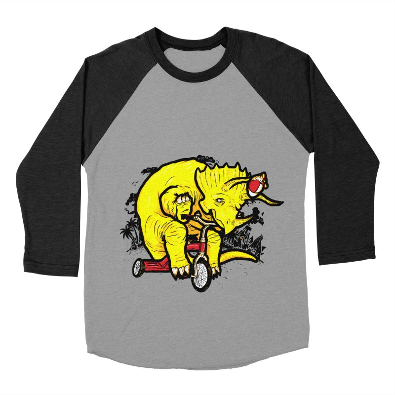Triceratops ona Tricycle  Women's Baseball Triblend T-Shirt by Jonah Makes Art