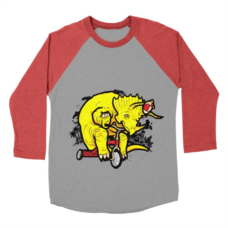 Triceratops on a Tricycle Men's Baseball Triblend T-Shirt by Jonah Makes Art