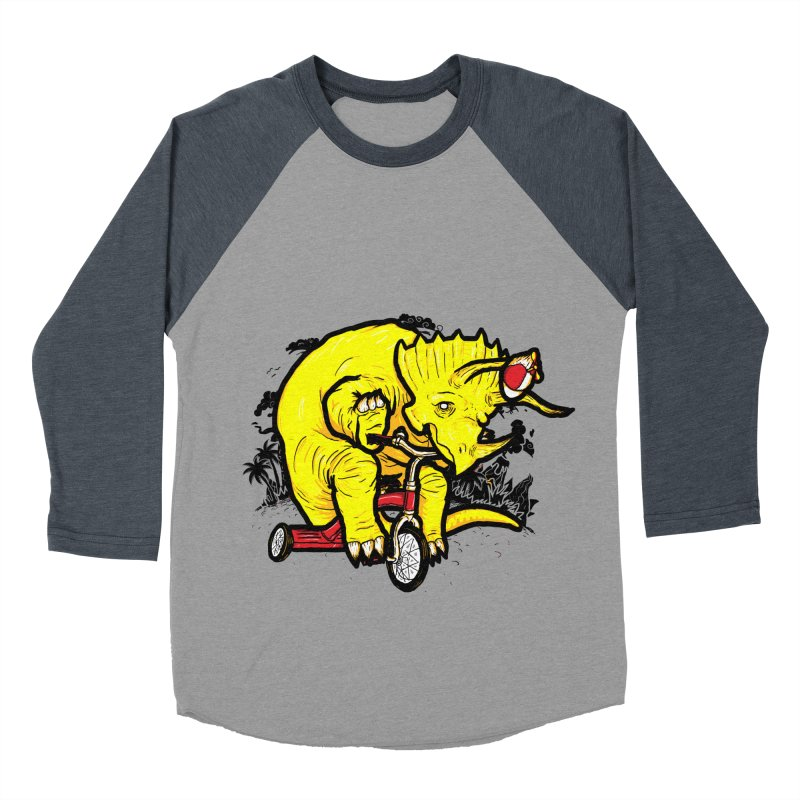Triceratops ona Tricycle  Men's Baseball Triblend T-Shirt by Jonah Makes Art