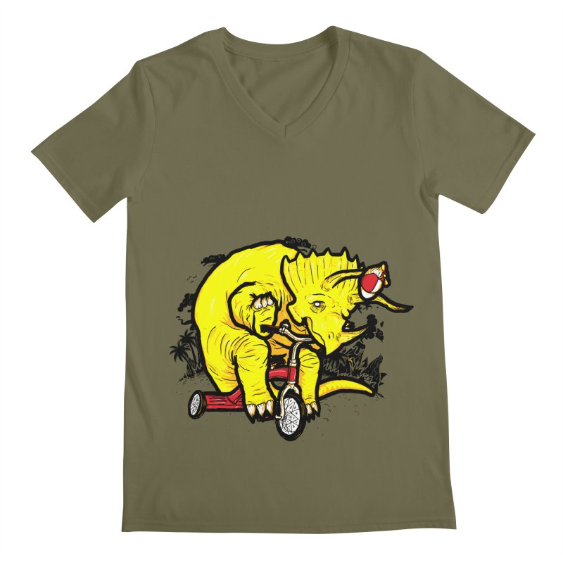 Triceratops on a Tricycle Men's V-Neck by Jonah Makes Art