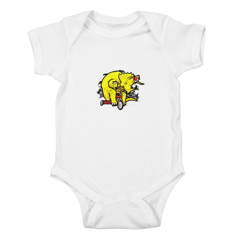 Triceratops ona Tricycle  Kids Baby Bodysuit by Jonah Makes Art