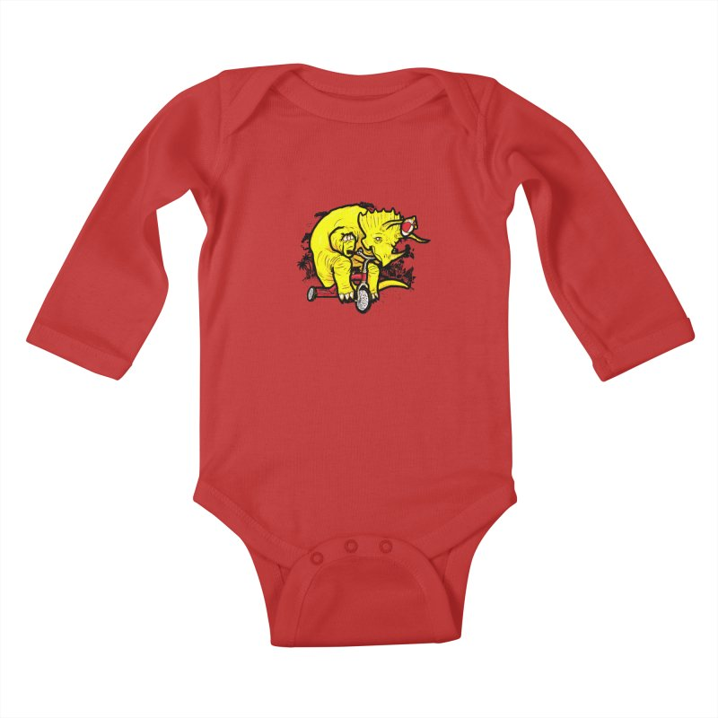 Triceratops ona Tricycle  Kids Baby Longsleeve Bodysuit by Jonah Makes Art