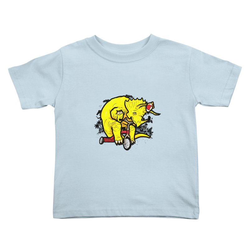Triceratops on a Tricycle Kids Toddler T-Shirt by Jonah Makes Art