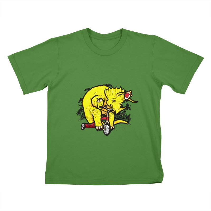 Triceratops ona Tricycle  Kids T-shirt by Jonah Makes Art
