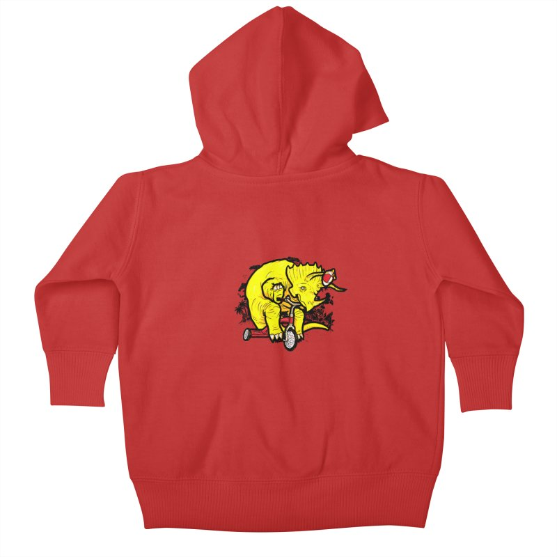 Triceratops ona Tricycle  Kids Baby Zip-Up Hoody by Jonah Makes Art