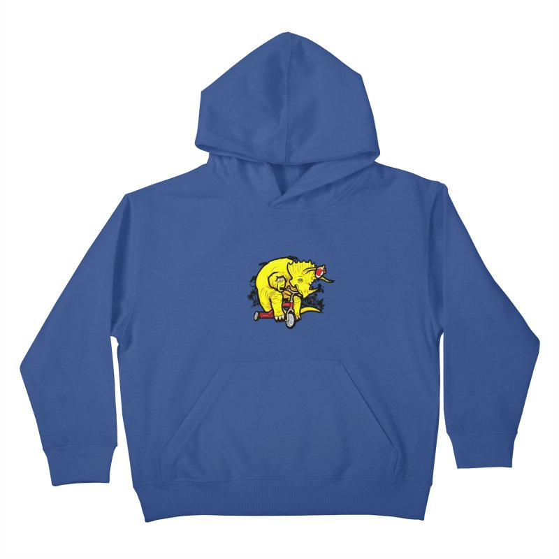 Triceratops ona Tricycle  Kids Pullover Hoody by Jonah Makes Art