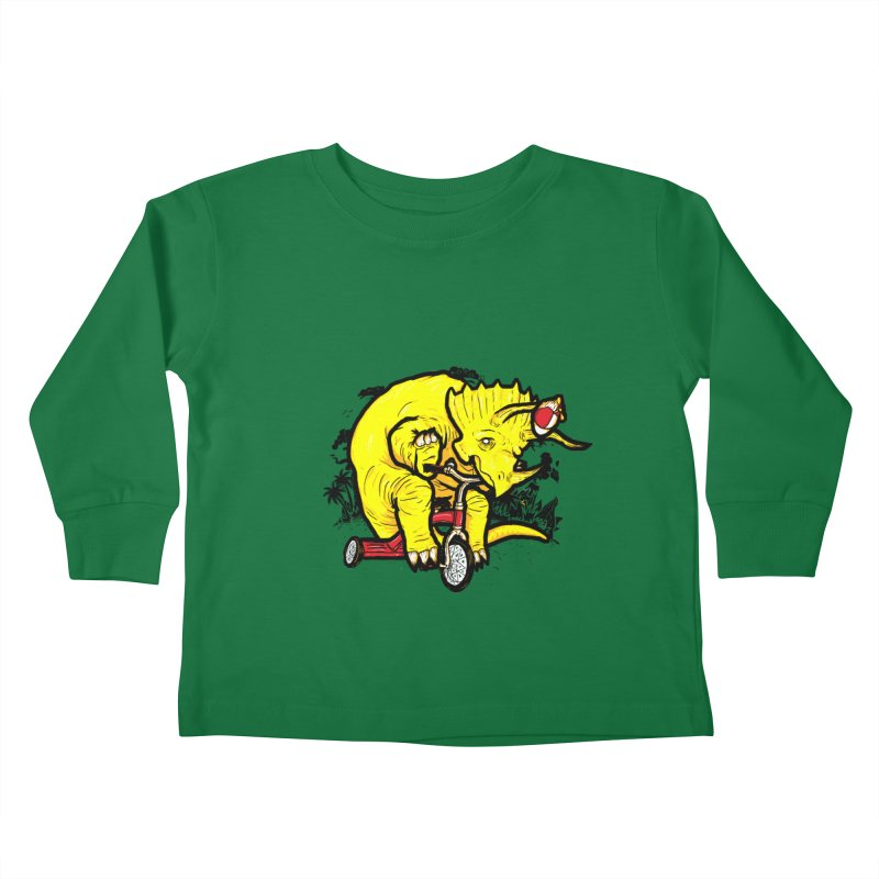 Triceratops ona Tricycle  Kids Toddler Longsleeve T-Shirt by Jonah Makes Art