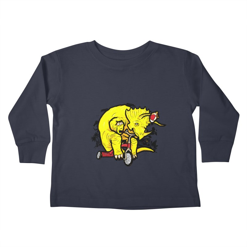 Triceratops on a Tricycle Kids Toddler Longsleeve T-Shirt by Jonah Makes Art