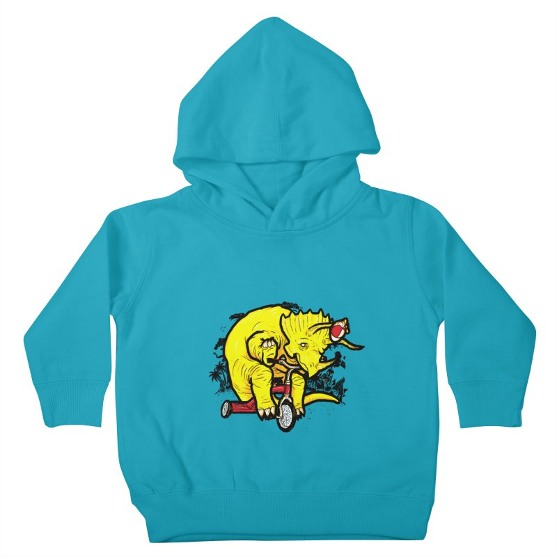 Triceratops on a Tricycle Kids Toddler Pullover Hoody by Jonah Makes Art