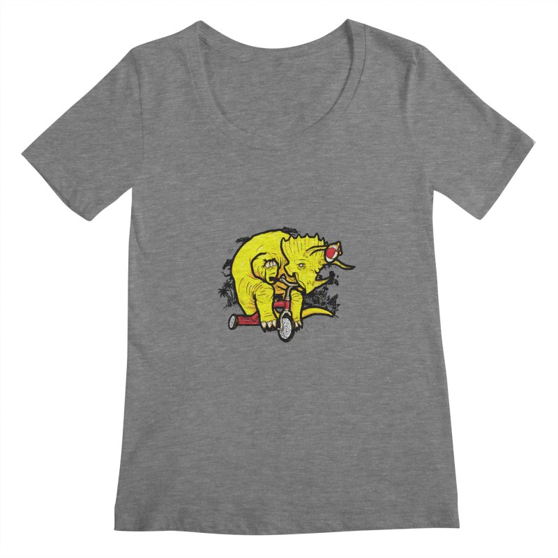 Triceratops ona Tricycle  Women's Scoopneck by Jonah Makes Art