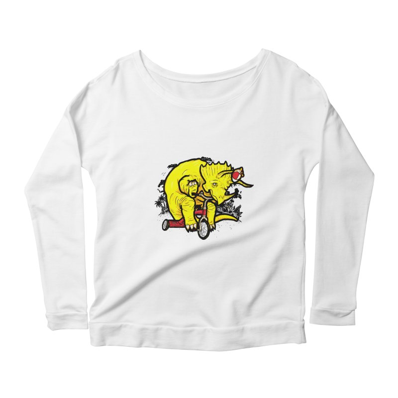 Triceratops ona Tricycle  Women's Longsleeve Scoopneck  by Jonah Makes Art