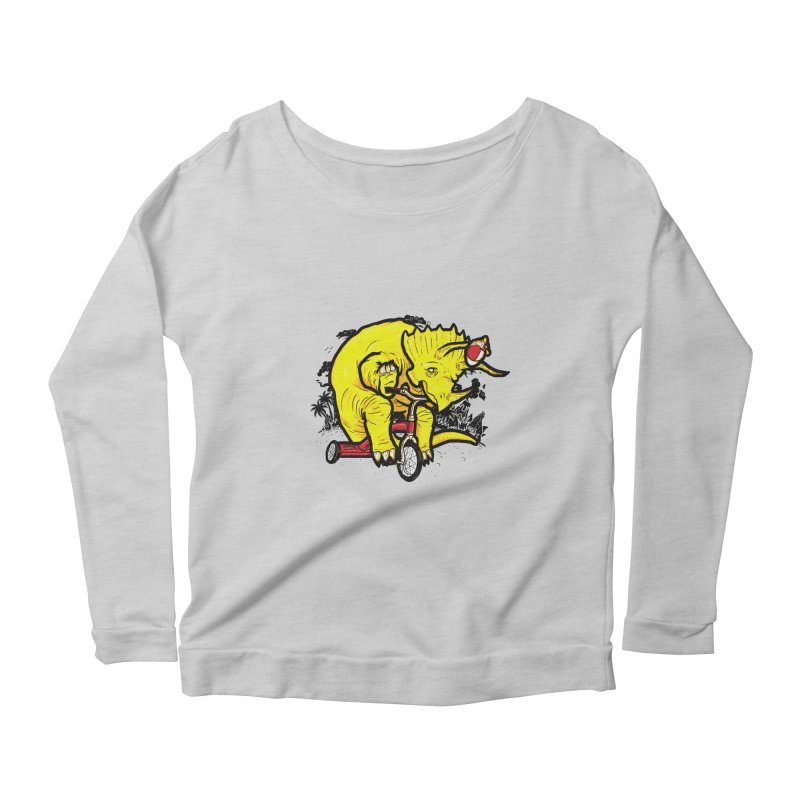 Triceratops on a Tricycle Women's Longsleeve Scoopneck  by Jonah Makes Art