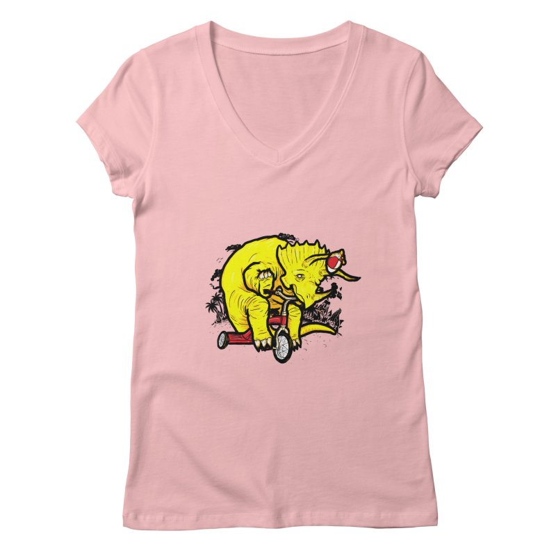 Triceratops ona Tricycle  Women's V-Neck by Jonah Makes Art