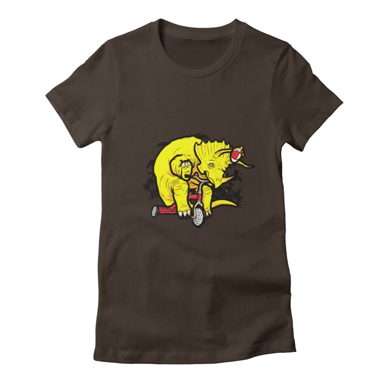Triceratops ona Tricycle  Women's Fitted T-Shirt by Jonah Makes Art