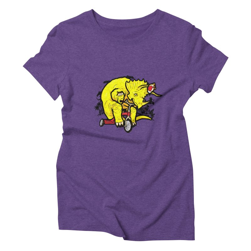 Triceratops ona Tricycle  Women's Triblend T-shirt by Jonah Makes Art