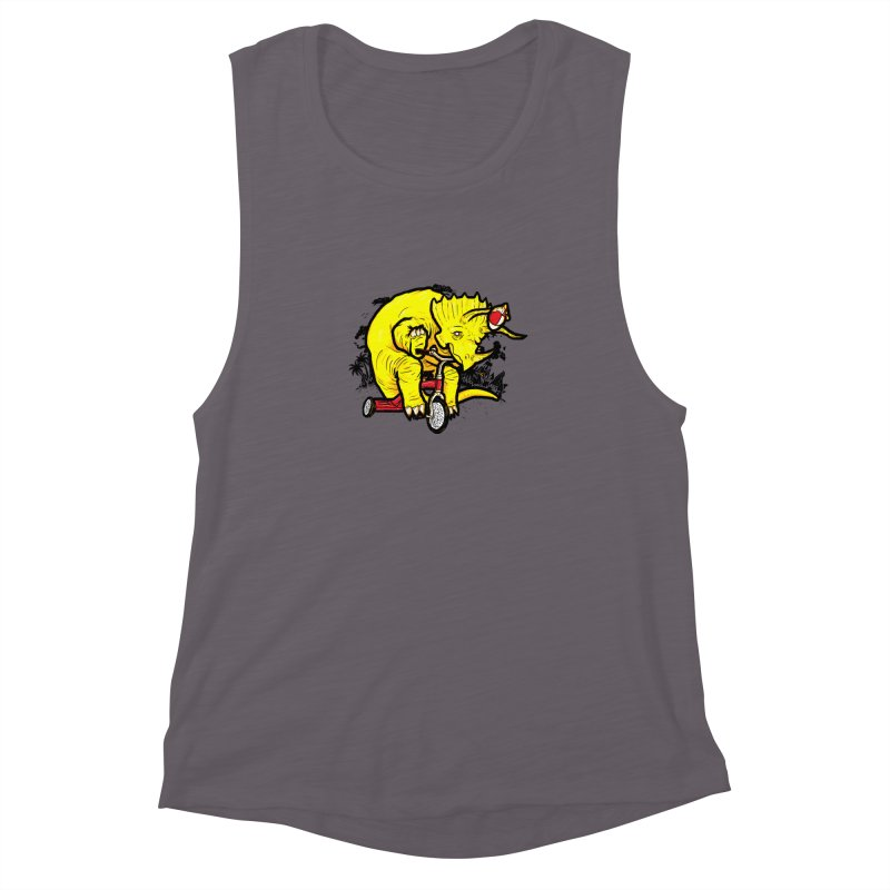 Triceratops ona Tricycle  Women's Muscle Tank by Jonah Makes Art
