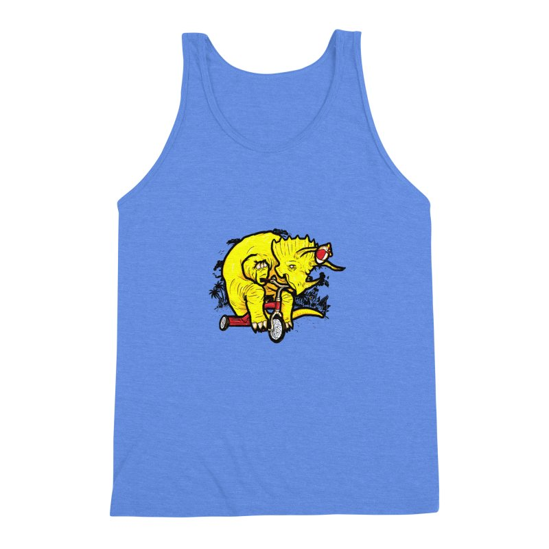 Triceratops ona Tricycle  Men's Triblend Tank by Jonah Makes Art