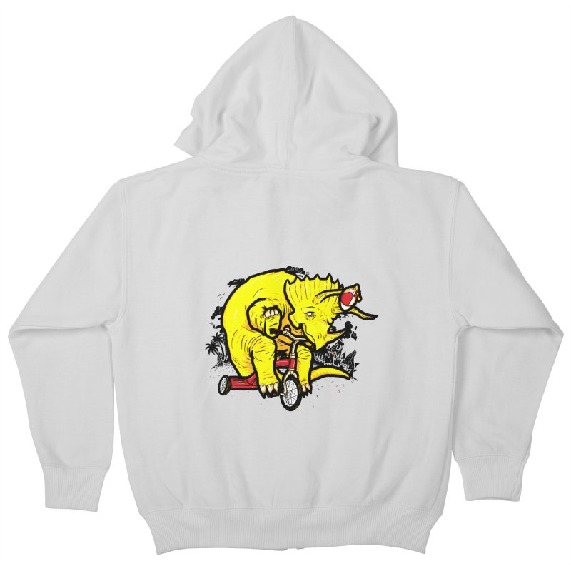 Triceratops ona Tricycle  Kids Zip-Up Hoody by Jonah Makes Art